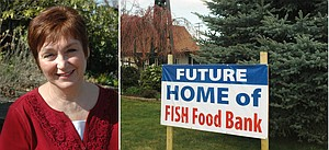 Becky Bugge is one of the many friendly faces making FISH go. Funds are being raised to build a new facility at Our Redeemer Lutheran.