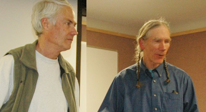 Stampfli send-off: For Steve Stampfli, left, Friday was the final day on the job as Hood River Watershed Group coordinator. On Tuesday, Watershed Group board president Chuck Gehling, right, and about 60 people gathered at Hood River to honor Stampfli, who is retiring. 
