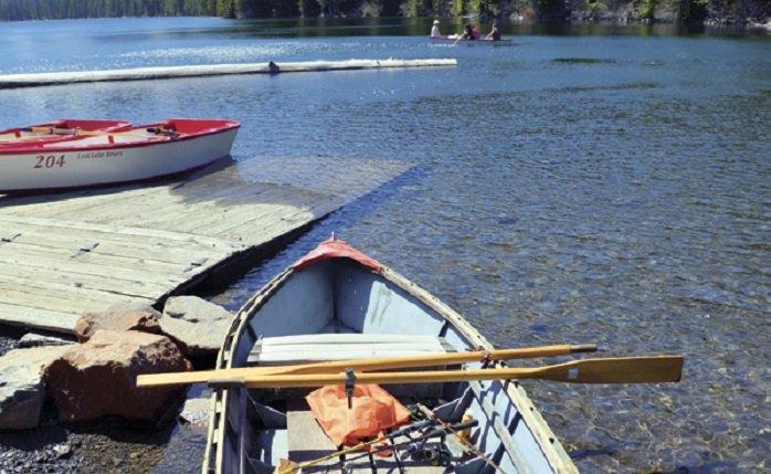 A refurbished rowboat at Lost Lake.