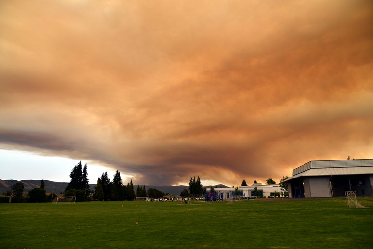 Smoke from the fire as seen from Westside Elementary School on Wednesday evening.