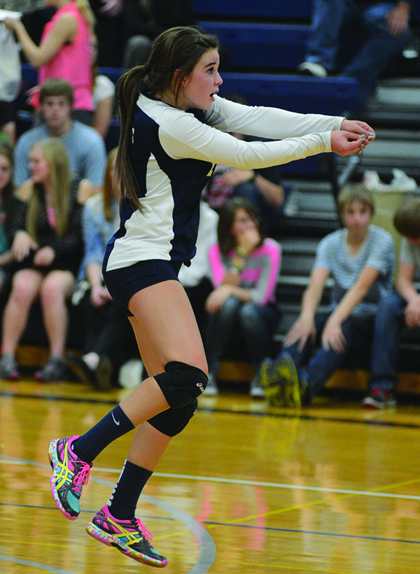 Pictured is Addie Lutz with a dig during Grangeville's last tune-up.