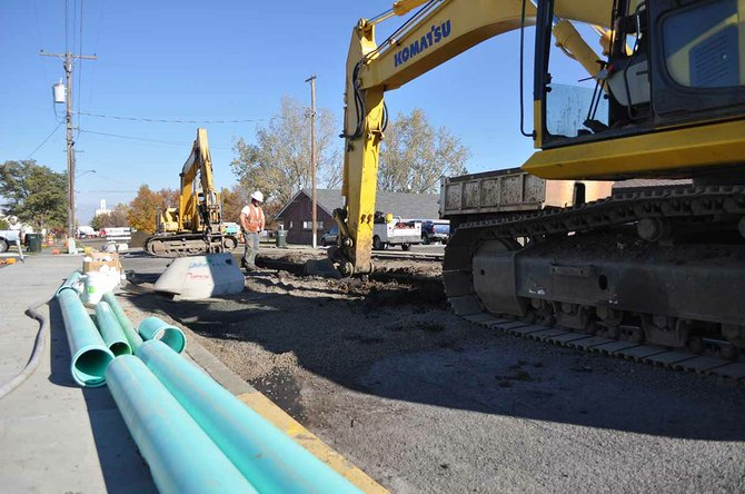 Crews with Western Construction of Lewiston Inc., were on North B Street just north of Syringa Hospital in Grangeville last Thursday, Oct. 24, replacing out six-inch diameter clay sewer line with new eight-inch diameter PVC pipes.