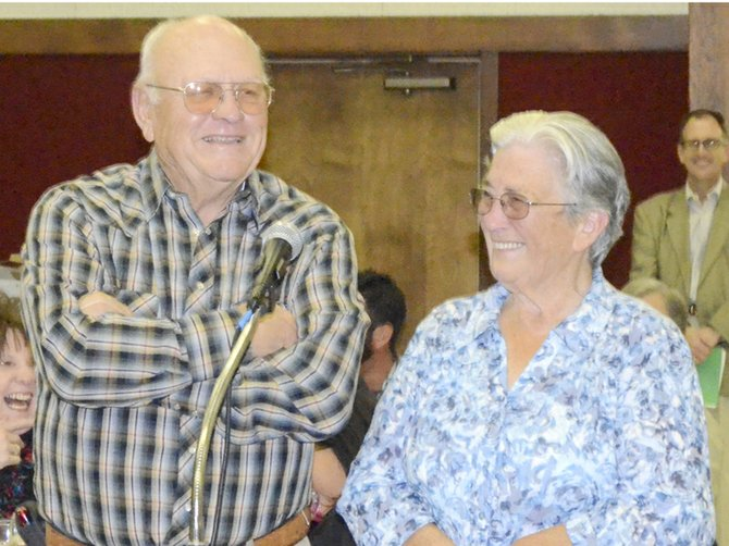 Honored as family of the year at the annual Yakima Valley Fair & Rodeo Foundation dinner and auction were Pat and Mike Stegeman.