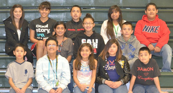 Sunnyside's Sierra Vista Middle School students of the month for October are (front row L-R) sixth graders Victor Cisneros, Troy Carrasco, Lluvia Charvez, Bianca Tamales and Eddie Davila; (middle row L-R) seventh graders Annahi Morfin, Evani Verduzco and Abraham Arreola; (back row L-R) eighth graders Danisa Alvarado, Selena Ramos, Jerry Ramirez, Jacqueline Tlatepa and Jesus Guerrero. Not pictured: Emily Marchello, Danielle LaPierre, Arit Limon and Alondra Perez.