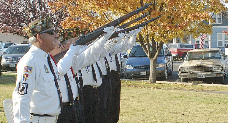 The Lower Valley Honor Guard pays tribute to living and deceased veterans with a 21-gun salute held as part of the Veterans Day ceremonies in Sunnyside.