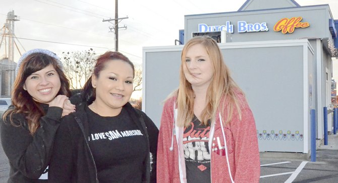 """Broistas"" Amanda Cervantes, Christella Martinez and Mindy Arnold (L-R) and the staff at Sunnyside's Dutch Bros. Coffee will this coming Friday be serving drinks for a cause. For every drink purchased at the local coffee stand, $1 will be donated to Service Alternatives, Inc., an organization that assists foster children locally. Each of the 213 Dutch Bros. locations has chosen a youth organization for which funds will be raised this coming Friday. The annual fundraiser netted $139,000 for children's causes last year."
