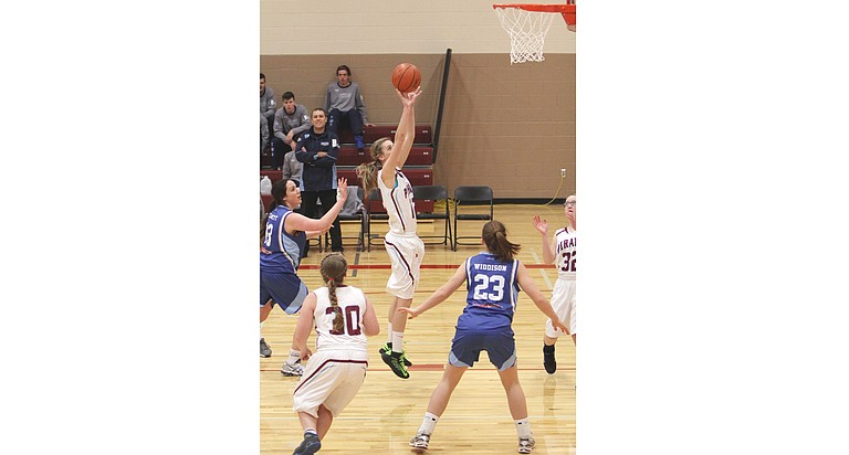 Bickleton junior Lindsay Brown puts up an uncontested shot against the Australian Titans in last Saturday's girls basketball game.