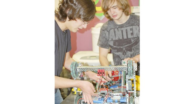 The Sunnyside High School VEX robotics team has earned a place at the state VEX competition taking place on Feb. 16 in Toppenish, according to Coach Spencer Martin. The partnership of Sebastian Castellanos and Cody Woodworth (L-R), along with three other local VEX team members, earned first-place honors at a robotics competition hosted by the SHS team. The team also earned second-place honors recently at a competition at Central Washington University.