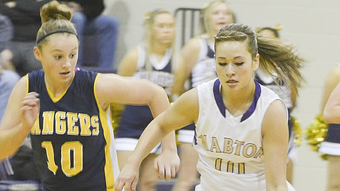 Alyssa Nash of Mabton pushes the ball up the floor while Kaley Roberts of Naches gives chase this past Saturday. Nash was the leading scorer in both of this past weekend's games against Zillah and Naches. She tallied 16 points against the Leopards and 20 against the Rangers. She also collected eight rebounds against Naches. The Mabton girls basketball team defeated Naches 53-45 after suffering a Friday night 64-48 loss to Zillah. Mabton's Desanay Guerrero added to the scoring tally with 14 points against the Rangers, 18 at Zillah. Mabton will tonight (Tuesday) host Highland.