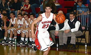 RJ HICKS had a breakout game Saturday with 21 points in the Hawks' 76-19 blowout vs. Central Christian.