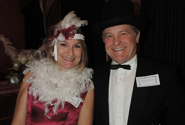 The ballroom of the Columbia Gorge Hotel was the scene of Friday's annual Chamber Mem-bership Appreciation event. Paige and Rountree Rouse exude the Gatsby party theme.