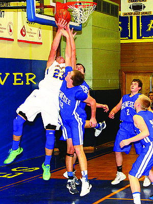 Salmon River senior Leighton VanderEsch scored 39 points in a Savages win over Genesee last Saturday, Jan. 25.  He scored 12 field goals despite the Bulldogs' defense.