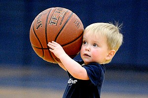 Lawson Roberg, not yet two years old, had some fun during halftime of Monday night's Grangeville-Clearwater Valley boys basketball game. He is the son of Troy and Leah Roberg of Grangeville.