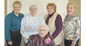 Evelyn Nieffer (foreground) celebrates her 100th birthday along with all four of her daughters, (L-R) Betty Clements, Donna Terrill, Carol Gilbert and Linda Boren.