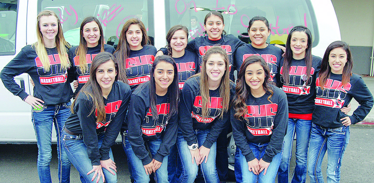 Just before receiving a police escort out of Sunnyside yesterday afternoon for the trek to the Tacoma Dome, the Sunnyside High School girls basketball team is all smiles. The Lady Grizzlies open 3A State tournament play tonight (Thursday) at 5:30 p.m. against the Bellevue Wolverines. The last time an SHS girls hoop team qualified for State was in 2002. The 2013-14 Lady Grizzly team members include (front L-R) Tiana Perez, Emilee Maldonado, Jordan Rodriguez and Mireya Herrera; (back L-R) Summer Hazzard, Jessica Mendoza, Vanessa Alvarez, Selena Rubalcava, Natalia Bazan, Jasmine Lua, Aubrey Isquierdo and Jazel Trevino.