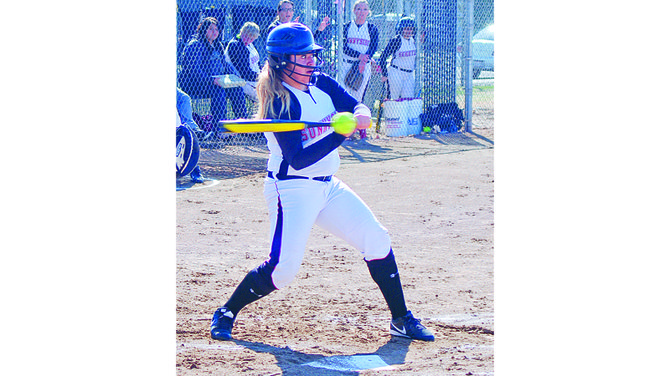 Sunnyside's Johanna Chumley this past Saturday is a little behind the pitch on this at-bat, fouling off the ball. The Lady Grizzlies suffered a 13-3 loss in the first game and a 19-11 loss in the second game to the Pasco Bulldogs. Sunnyside's Shawna Santini was 2-for-4 at bat in the opener, 3-for-4 in the nightcap. Teammate Amber Cornwell was 3-for-5 hitting in the second game. Sunnyside had three runs on five hits in the first game, 11 runs on 11 hits in the nightcap. Cornwell pitched the first game and recorded seven strikeouts. On the mound in the nightcap was Monique Gill, who had one strikeout. Sunnyside will tomorrow (Tuesday) travel to Hanford for a single game.