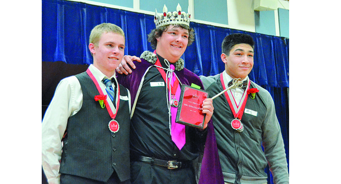 Named to the 2014-15 Mr. Grandview court at this past Saturday's Mr. Grandview Pageant are (L-R) Prince Brendon Lynch, Mr. Grandview Kody Kollmar and Prince Hector Pena. The annual event is a fundraiser for the Grandview High School Drama Club. The pageant was organized by Emily Contreras for her senior project.