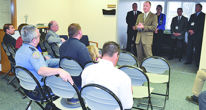 Each of the five finalists for Sunnyside police chief had a few minutes to address a crowd of about 25 people at Sunnyside City Hall during a meet and greet session last night.