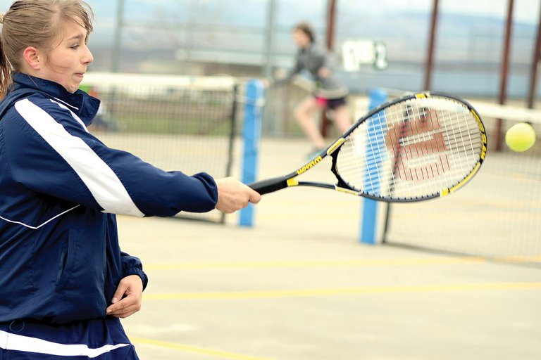 Grangeville's Alex Nuttman whistles a winner over to her April 5 girls singles opponent from Moscow.