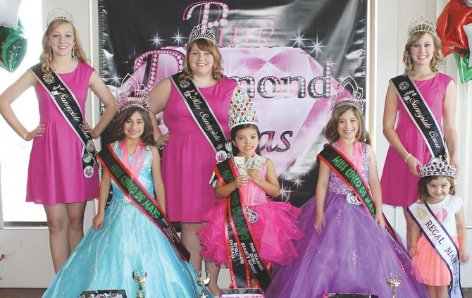 "Several Sunnyside girls traveled to Kennewick this past Sunday to compete in the Miss Cinco de Mayo Pageant held at the Clover Island Inn. At the event were (back row L-R) Miss Sunnyside Princess Leah Diddens, Miss Sunnyside Alyson Spidle and Miss Sunnyside Princess Ashley Davis; (front row L-R) Brielle Olivarez, Audrina Campos, Brianna Garza and Regal Majesty Queen Brooklynn Zamora. The local competitors each earned the highest points in their class and prizes for Cinco de Mayo wear and swim wear. Olivarez earned a prize for best eyes and best diva wear. Campos earned a $60 cash prize for ""Beauty Supreme"" and a prize for best personality. Garza won a prize for best smile."