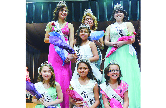 The Miss Granger and Little Miss Granger pageants, staged last Friday, resulted in the crowing of (back L-R) Miss Granger second princess Angelica Sanchez, Miss Granger Alejandra Rodriguez and first princess Savannah Diaz; (center) Little Miss Granger second princess Neveah Alegria; (front L-R) third princess Mercedes Morales, Little Miss Granger Mireya Carasco and first princess Hannah Valenzuela.
