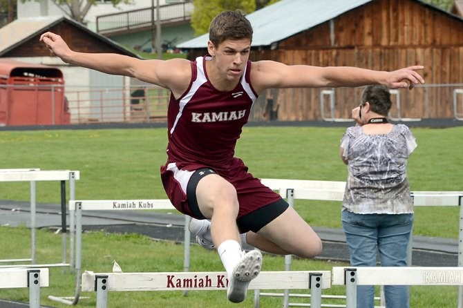 Kamiah's Chris Pethel won the 300 meter intermediate hurdles last Saturday, April 19, with a time of 44.85 seconds; Pethel was the only KHS individual event winner on the boys side, but Kamiah's relays powered the male Kubs to the team title at their third home meet of the season. KHS is slated to host 11 teams at 4 p.m. Friday afternoon, April 25.