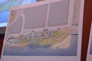 A more conservative design drawing shows what could be built in the first phase of the project.