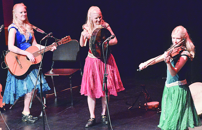 At yesterday's (Sunday) Lower Valley Community Concert the Gothard Sisters perform a number of Irish tunes, entertaining a large audience of concert enthusiasts. The sisters are (L-R) Greta, Solana and Willow. They reside in the Seattle area and have been performing together since childhood, bringing Irish and Celtic music to audiences internationally.