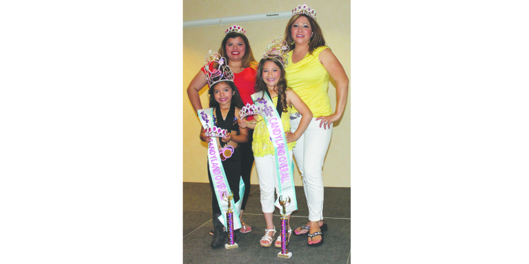 Pink Diamond Divas put on a Mother's Day Pageant at the Best Western in Sunnyside this past Sunday. Sunnyside's Audrina Campos (left front) won high point honors in her age category, along with awards for best Candy Land theme wear, best personality, best smile, best eyes, best hair and most photogenic. Along with her mother, Amy Rubio (pictured behind her), Audrina was the fourth runner-up in the Mommy and Me contest. Sunnyside's Brianna Garza (right front) won high point honors in her age category along with awards for best eyes, best hair and best personality. Garza and her mother, Maricruz Garza (behind Brianna), were third runners-up in the Mommy and Me contest.