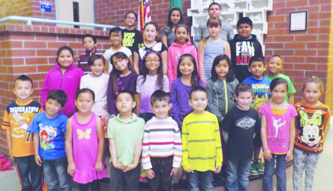 Mabton's Artz-Fox Elementary School students of the month for April are (front L-R) Julian Amezcua,  Fernando Miranda, Kaitlyn Desmarais, Ali De La O Saavedra, Christopher Barrios, Ian Gonzalez, Mateo Marquez, Alexia Mieirs and Vanessa Delgado; (second row L-R) Lisa Arellano, Leslee Moreno, Samantha Chavez, Brianna Vergara, Jennifer Meza, Millie Arriaga, Angel Chavez and Manuel Lemus; (third row L-R) Brandon Ortiz, Jessica Mendez, Stacy Morales-Sosa, Karen Espinoza, Rylee Zaikawsky and Jesus Rivera; (back row L-R) Jennifer Rodriguez, Vanessa Espinoza and Jose Barajas. Not pictured are Jaelyn Pineda and Esmeralda Vazquez.