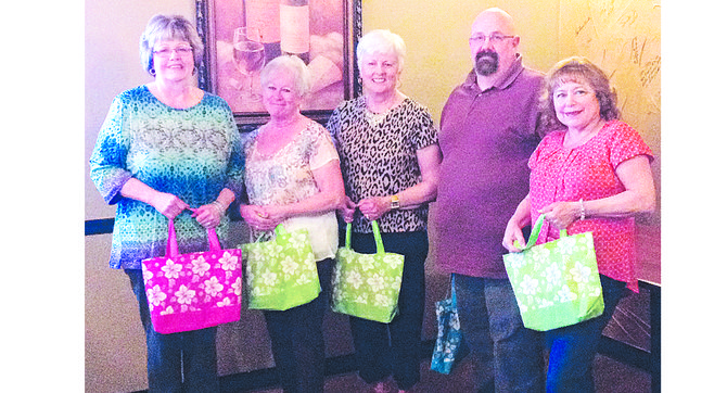 The new officers for 2014-2015 for the Sunnyside Community Hospital Auxiliary are (L-R) Charlene Maling, fundraiser chair and gift shop manager; Debbie Amos, treasurer; LuAnn Roach, vice president; Anthony Johnson, president; and Yolle Guizar, secretary.