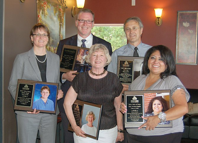 The five honorees to the Sunnyside High School Wall of Fame include (L-R) Mischa Plesha, Jim Conelison, Jerri Honeyford, Tim Graff and Teri Alvarez-Ziegler.