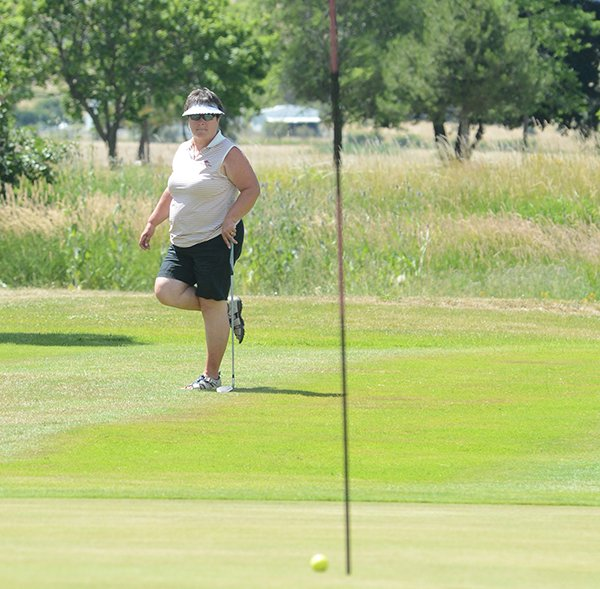 Margie Gortsema nearly holed out her second shot on the Par 3 No. 9 last Sunday, July 20, at Grangeville Country Club's annual Couples Tournament. She and her husband, Ken, wound up with the best two-day net score in the top flight.