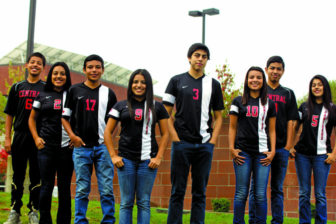 Eric, Alyssa, Aaron, Alexis, Pedro, Victoria, Hugo and Delia Orozco (from left) all play soccer for Central High School.