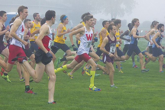 Western Oregon's David Ribich (85) takes off at the start of the Great Northwest Athletic Conference Championships.