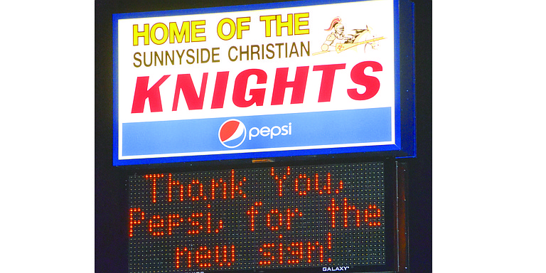 This new readerboard sign at Sunnyside Christian High School is valued at $10,000.
