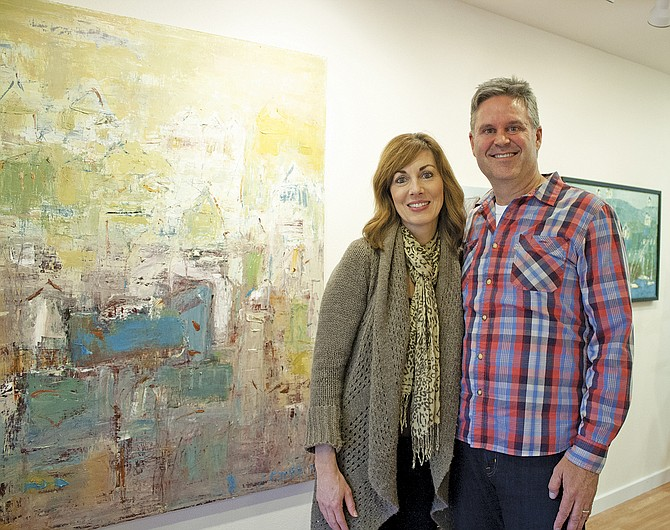 With the support of his wife, Conni (left), Tom Kunke has embarked on a second career as an artist. His abstract paintings have been well-received and late last year, the couple opened a gallery and art studio.