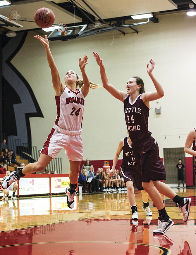 WOU senior Dana Goularte scored 10 points and grabbed six rebounds against Seattle Pacific.