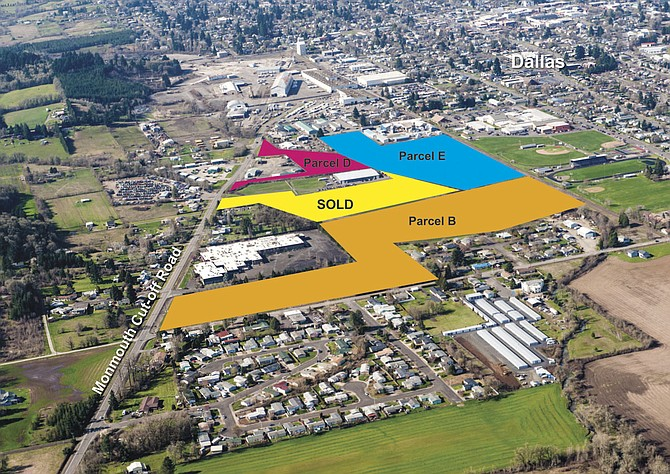 Three of the four parcels set for auction on May 20, in addition to the one that was sold, are shown here. The biggest parcel (not shown) is 52 acres off Southeast Godsey Road. Sealed bids on the properties are due at 5 p.m. on May 20.