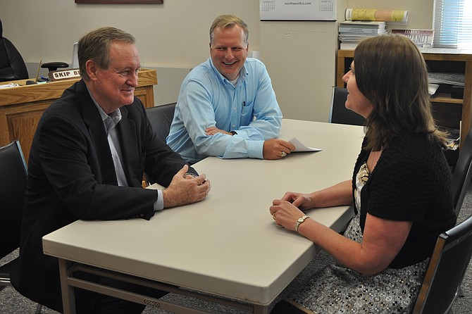 U.S. Senator Mike Crapo (left) talked on May 28 with (L-R) Idaho County Commissioner Skip Brandt and Idaho County Clerk Kathy Ackerman during his recent town meeting visits to Idaho County.