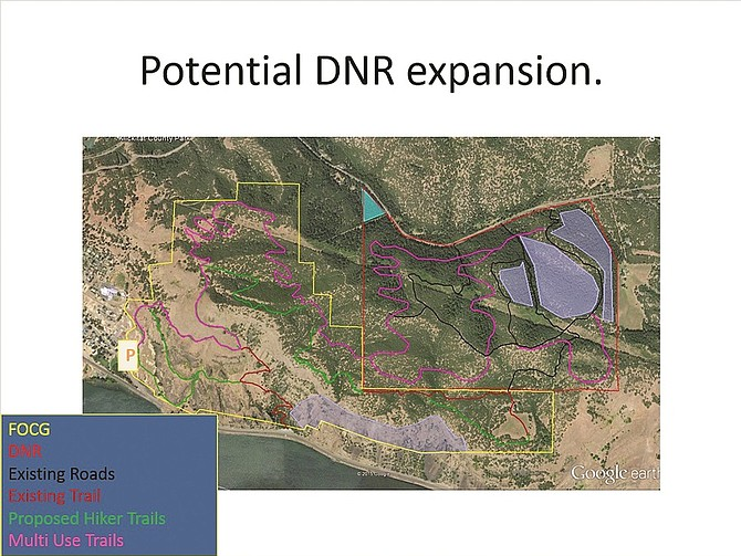 Lookup Map showing proposed expansion of trails onto Department of Natural Resources lands.