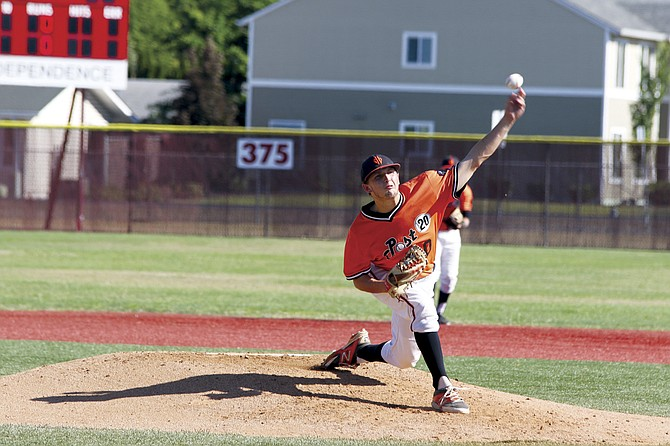 Tucker Weaver delivers a pitch against Withnell on Saturday. Weaver helped the Dirtbags earn a 5-4 win.