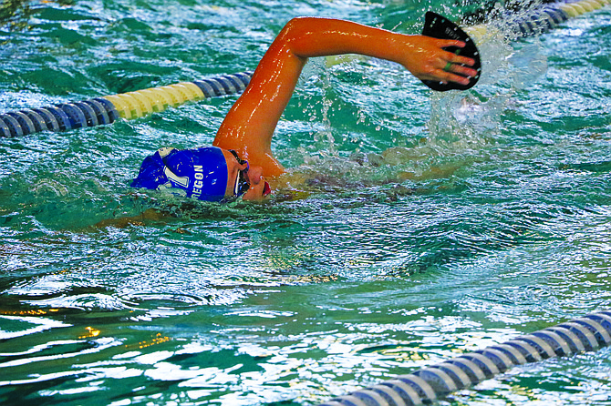 Isabel Diaz is the Blue Dolphin's lone 500-yard freestyle competitor in the 13-14 age division.
