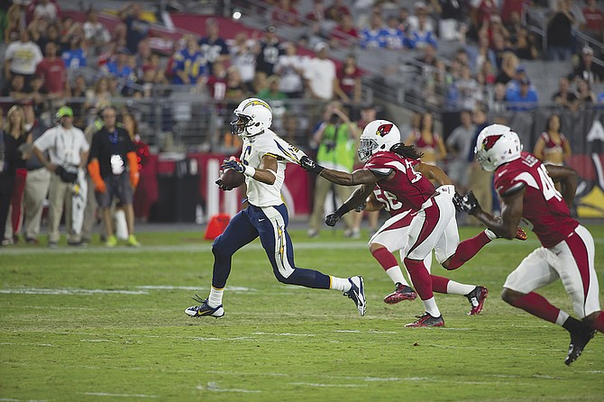 Tyrell Williams recorded three catches for 36 yards against the Arizona Cardinals on Saturday.