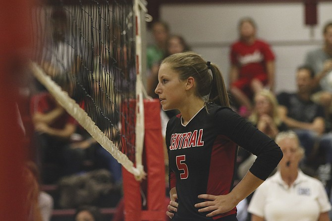 Central senior Kylie Nash looks on during the Panthers' match against West Salem on Thursday evening.