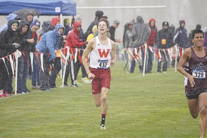 David Ribich sprints to the finish at the NCAA Division II West Region race.