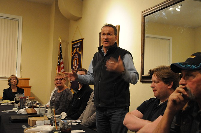 Mike Tatko, Avista regional business manager for the Lewis Clark region, speaks at the Jan. 21 Grangeville Chamber of Commerce meeting, which was held at Oscar's Restaurant meeting room.