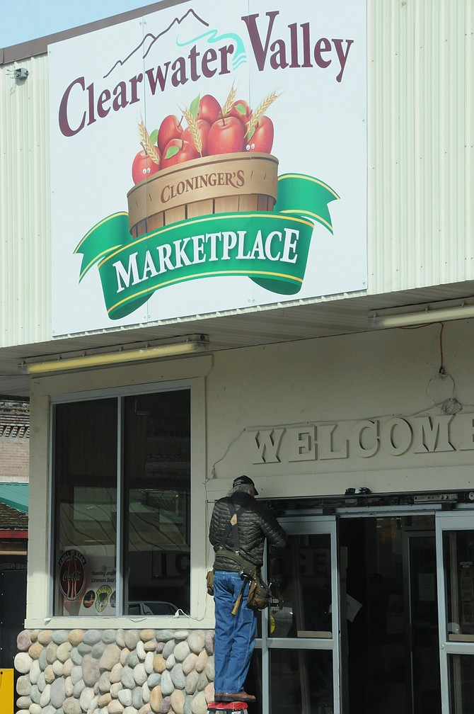 Cloninger's Clearwater Valley Marketplace in Kooskia was getting  some door repairs Saturday morning, March 26. The store was abuzz with Easter grocery shoppers.