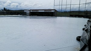 The rainy weather has made Western Oregon's softball field unplayable. WOU has yet to have a home game.