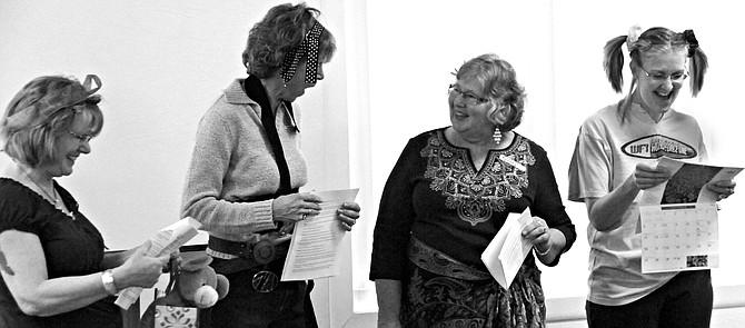 "(L-R) Amber Chicane, Carol McLean, Carol Schmidt and Roz Banta perform a skit at a recent Grangeville Church of the Nazarene women's ministry ""God's Girls"" brunch."